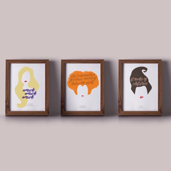 Hocus Pocus Sanderson Sisters Printable Pack featuring three prints showcasing the sanderson sister's hair and a memorable quote from each character. Art by N & N Designs.
