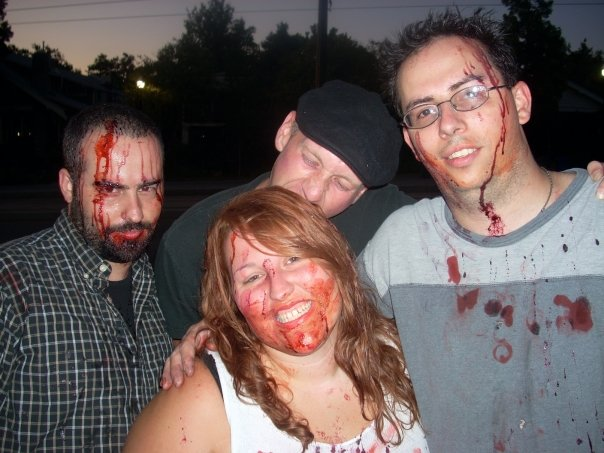 Matt, Josh, Ken, and Me posing at the Zombie Walk in 2009 in Salt Lake City Utah