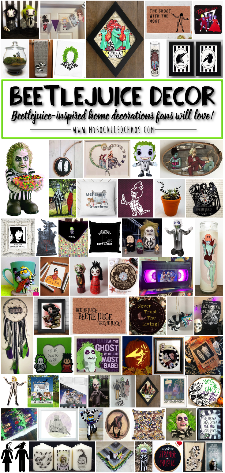 Did you know that the classic Tim Burton film Beetlejuice is celebrating it's 30th anniversary this month? There will be a 30th anniversary event in most local theaters, and the stage adaptation hits Broadway this month as well. I LOVE IT. To celebrate, I'm sharing a big list of amazing Beetlejuice decor pieces that fans will love to display all year long-not just at Halloween! So, if you're a fan, check out this Beetlejuice decor-most of which is one of a kind!