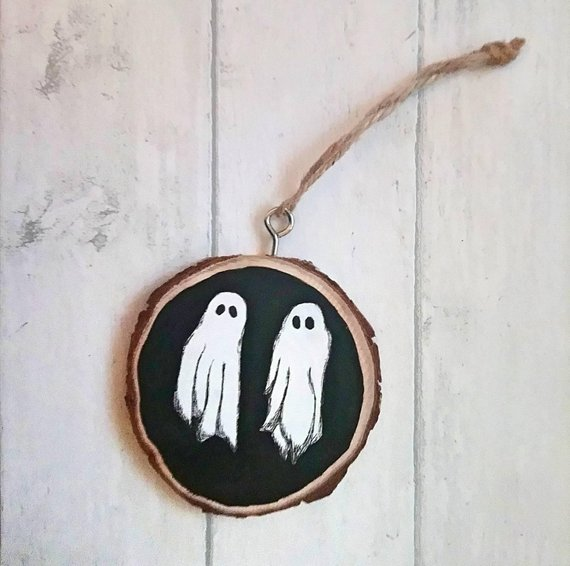 Beetlejuice Ghost Wood Slice Ornament by My Wonder Box Emporium on Etsy