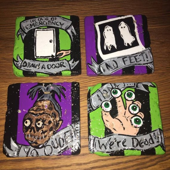 BeetleJuice Coaster Set by Black Lace Artistry on Etsy