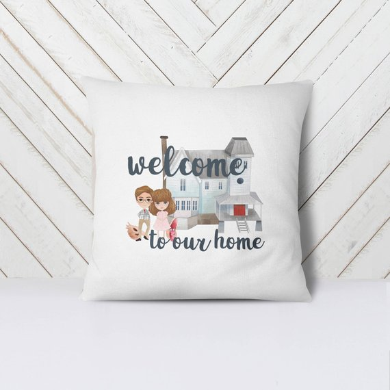 Beetlejuice Welcome to Our Home Pillow via Craft Encounters on Etsy