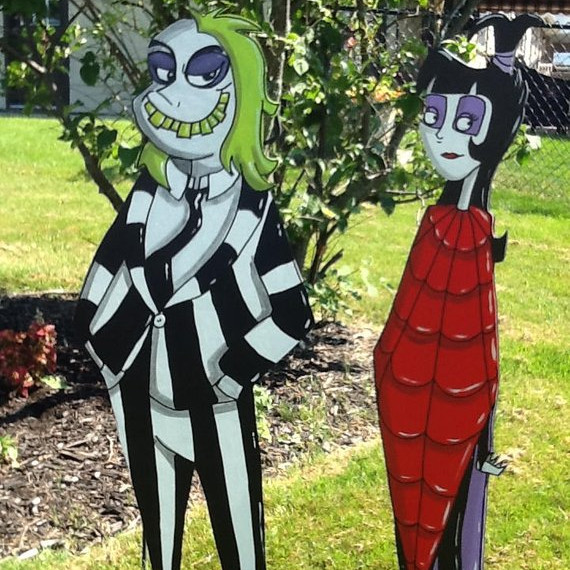 Hand Painted Beetlejuice Yard Art by Sweet Pea Paint on Etsy