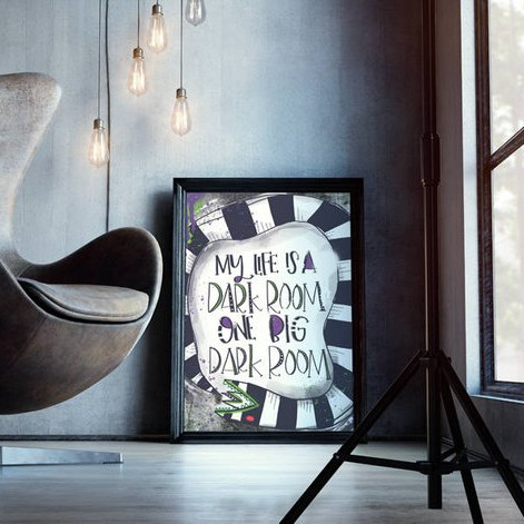 "Beetlejuice Quote Print saying ""My whole life is a dark room, one big dark room."" said by Lydia Deetz art by Sugar Grenade on etsy"