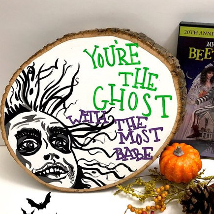 Beetlejuice Ghost with the Most Wood Slice by Bas Art on Etsy