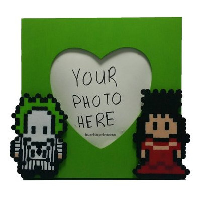 Perler Beetlejuice & Lydia Picture Frame by Burrito Princess on Etsy