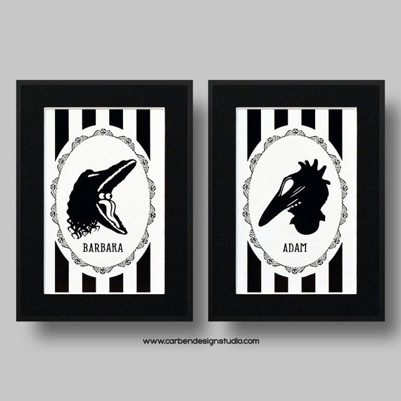 Beetlejuice Barbara and Adam Foil Print by Carben Design Studio on Etsy