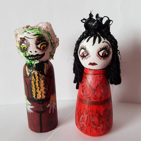 Beetlejuice Wedding Peg Dolls by Charlie's Crazy Couture
