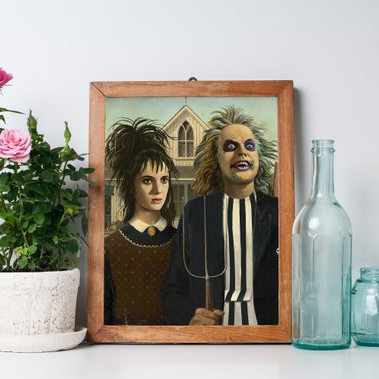 Lydie Deetz & Beetlejuice American Gothic Artwork by In with the Old Prints