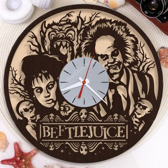 Beetlejuice Wooden Clock by wylsu