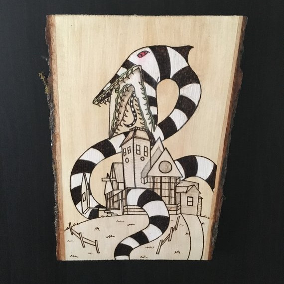 Beetlejuice Sand Worm Wood Burned Art by Briar Wood Goods