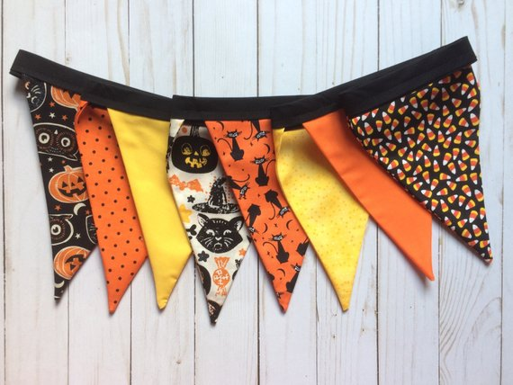 Whimsical Halloween Fabric Pennant Banner