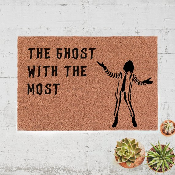 The Ghost With The Most Beetlejuice Halloween Doormat by Stroll the City