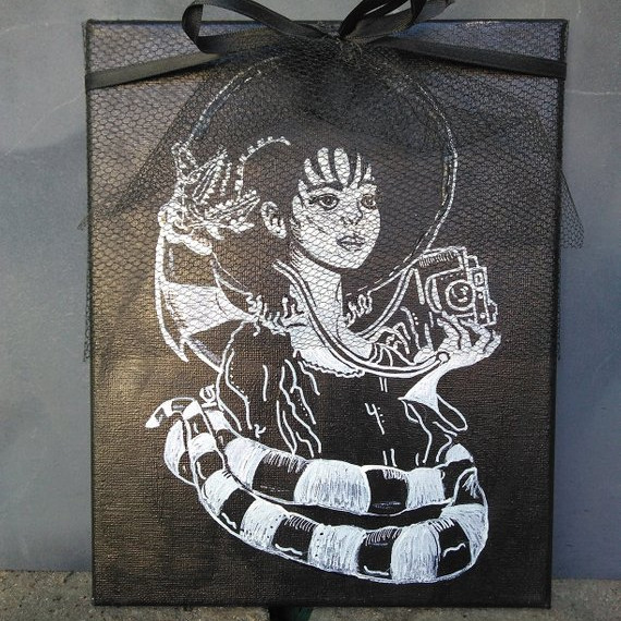 Lydia Deetz with Sandworm Acrylic Painting by Something with a K on Etsy