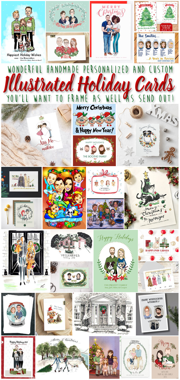 Custom Illustrated Holiday Cards You'll Want to Frame as Well as Send - Want to send a custom Holiday card this Christmas season that shows off your family in a unique and fun way? Hire an artist to draw you and those you love... Your kids, your pets, your home, whatever floats your boat-there are ton of options for handmade one of a kind illustrations this season. So much fun! #ChristmasCards #CustomPortraits