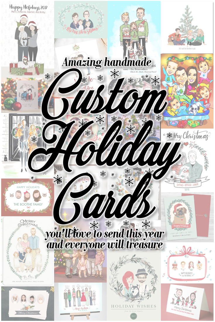 Want to send a custom Holiday card this Christmas season that shows off your family in a unique and fun way? Hire an artist to draw you and those you love... Your kids, your pets, your home, whatever floats your boat-there are ton of options for handmade one of a kind illustrations this season. So much fun! #ChristmasCards #CustomPortraits