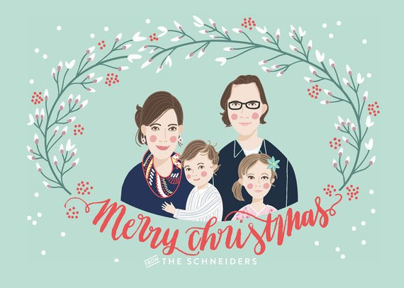 Custom Illustrated Family Portrait Christmas Card by Laura Rosendorfer
