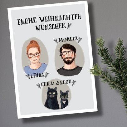 Custom Holiday Cards for Christmas by Familie Kleiner Tiere
