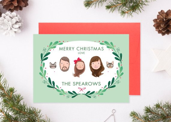Custom Illustrated Family Portrait Christmas Holiday Card by Kathryn Selbert