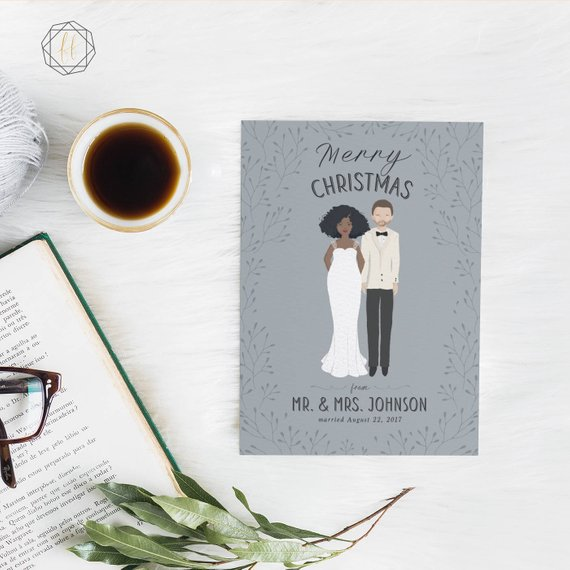 Custom Wedding Christmas Card by Freckled Fox Prints