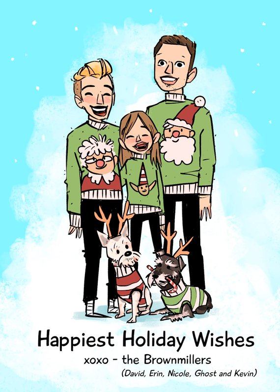 Custom Ugly Sweaters Holiday Card by Megan Crow Art
