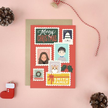 Custom Illustrated Family Portrait Christmas Card by Whimsery