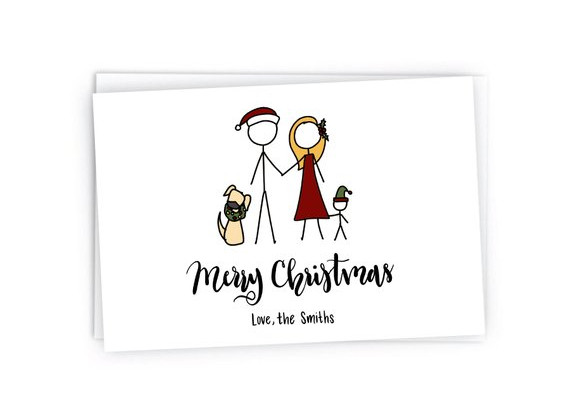 Custom Stick Figure Christmas Portrait by Photos and Flourishes