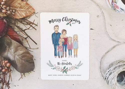 Custom Family Portrait Christmas Cards by Joyful Flourish