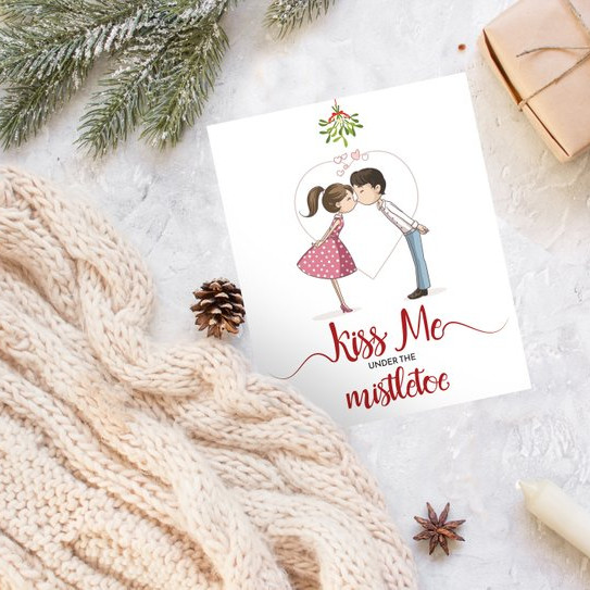 Custom Kissing Christmas Cards by Let's Make it Cool
