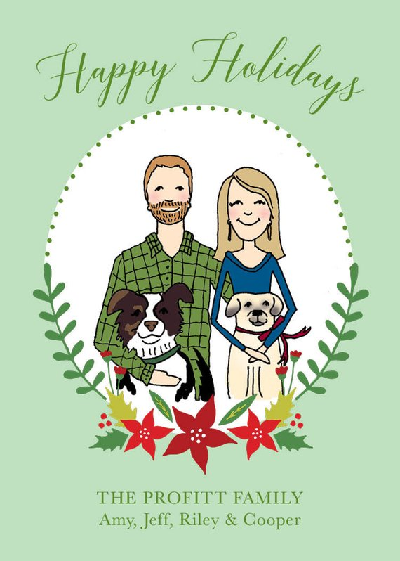 Custom Illustrated Holiday Cards by Pretty Press