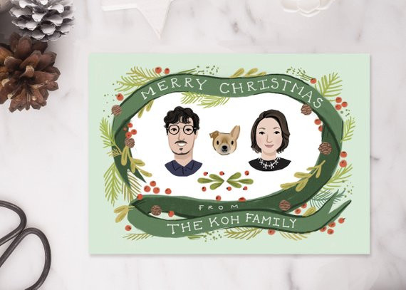 Custom Illustrated Family Portrait Christmas Card by Kathryn Selbert
