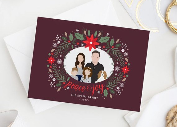 Christmas Card with Family Portrait by Dea and Bean