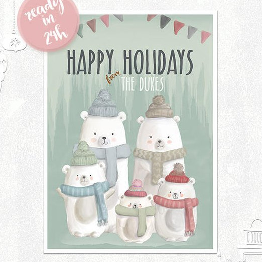 Personalized Bear Christmas Card by Little Yellow Daisiess