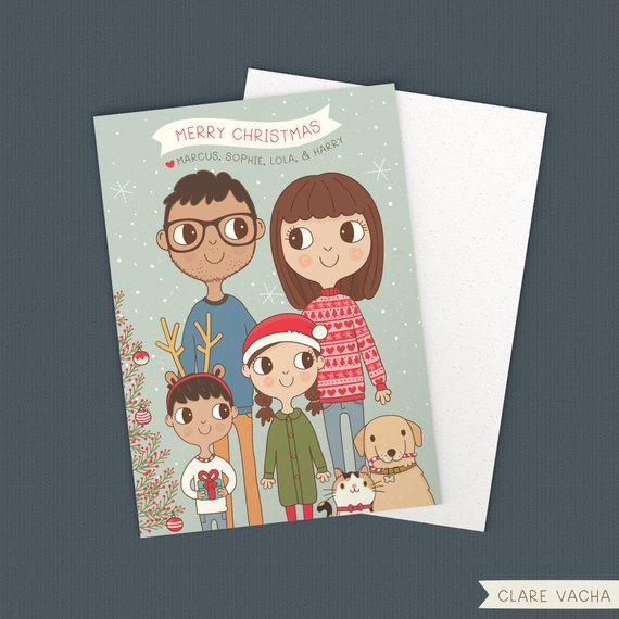 Custom Family Christmas Card by Clare Vacha