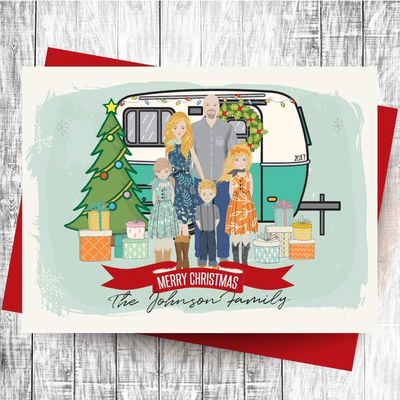Personalized Family Portrait Christmas Card by Engineered Printables