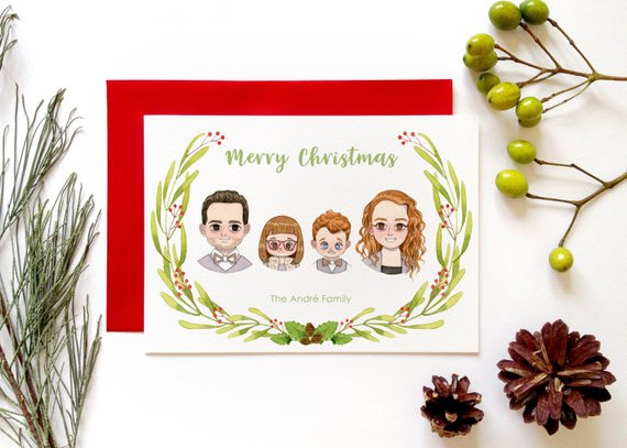 Custom Family Christmas Holiday Greeting Card by Starfolio Art
