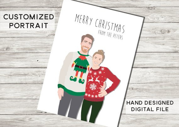 Ugly Christmas Sweaters Couple Card by Nerdy Face Design
