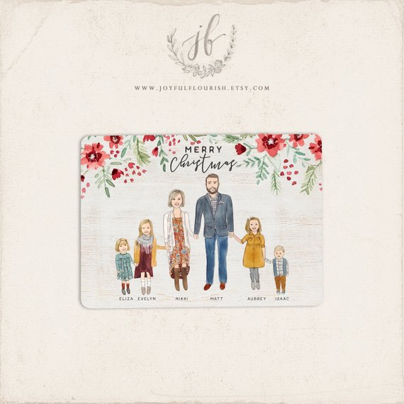 Watercolor Family Portrait Christmas Cards by Joyful Flourish
