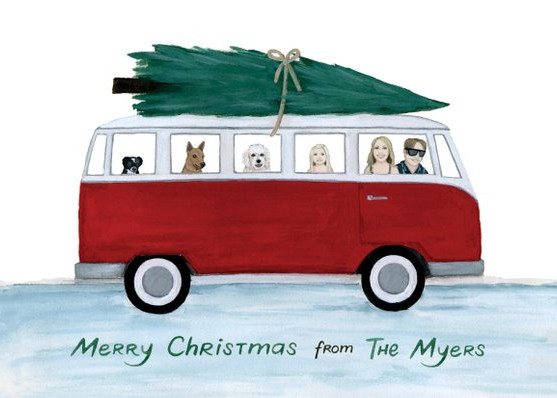 Custom VW Vanagan Family Portrait Card by Langley and Co