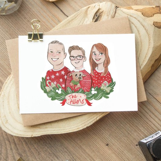 Custom Family Portrait Greeting Card by Saoirse Lou Scribbles