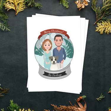 Custom Snowglobe Christmas Card by Wanderer Illustration