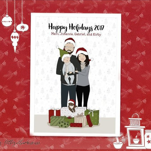 Custom Family Portrait Christmas Scene Card by Little Yellow Daisiess