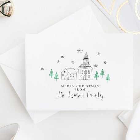 Personalized Christmas Scene Cards by The Pumpkin Paper Co