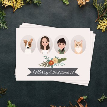 Custom Christmas Card with Family Portrait Illustration by Wanderer Illustration