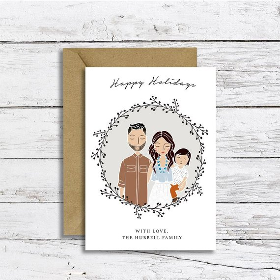 Custom Christmas Card Illustration Portrait by Lily and Threads