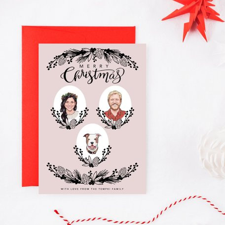 Custom Portrait Christmas Cards by Selador Designs