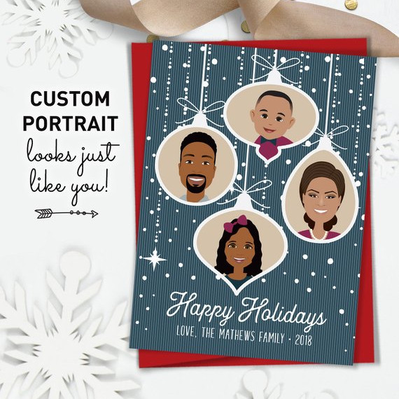 Custom Portrait Holiday Cards by Jade Forest Design