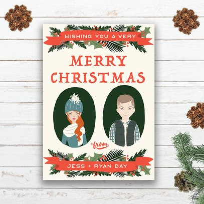 Custom Illustrated Family Portraits Card by Unearthed Paper Co