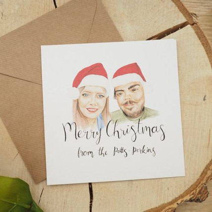 Custom Christmas Family Portrait Card by Stacey Hammond Art