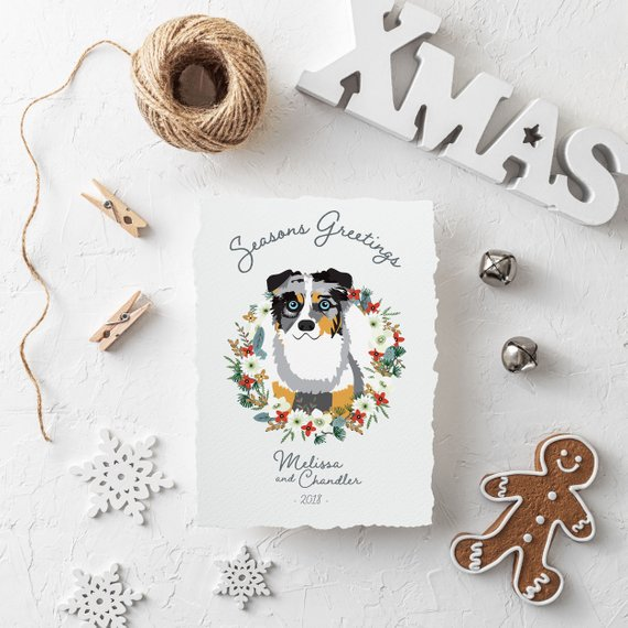Holiday Card with Custom Pet Portrait by Of All the Purdy Things